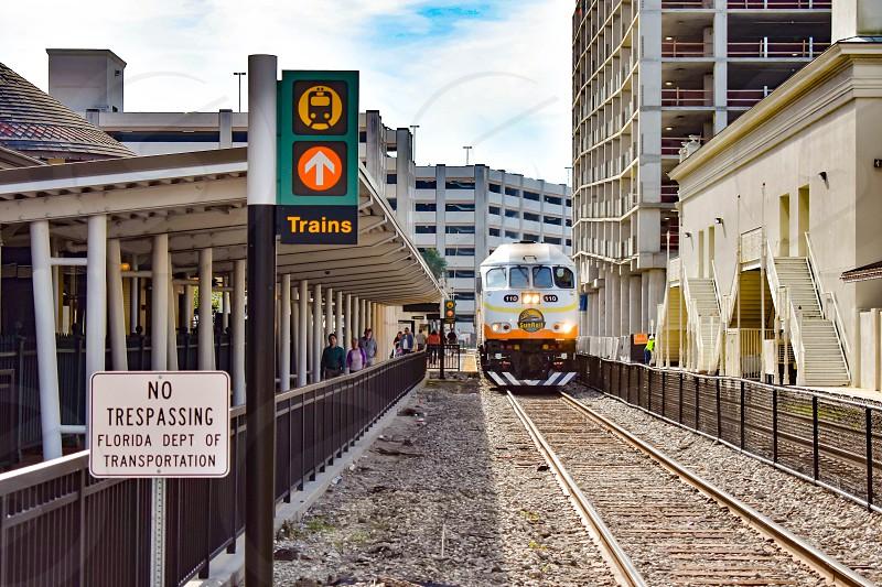 Orlando Florida . December 24 2018. Train on Church Street Station in Orlando Downtown area . photo
