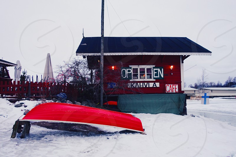 Cafe Regatta in Helsinki normally a summer hangout is frozen over in February. photo