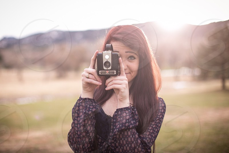 Mountains vintage camera girl golden hour  photo