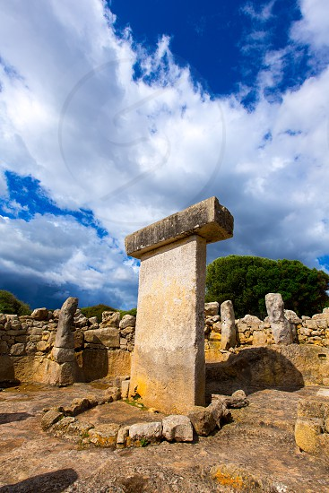 Menorca Taules Torralba de en Salort Salord prehistoric sanctuary in Balearic islands photo