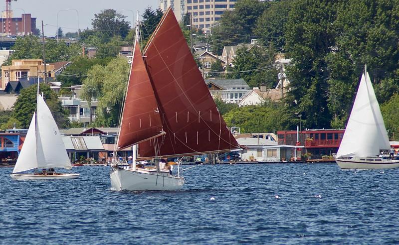 Wooden boat Lake Union Seattle WA photo