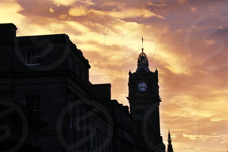Clocktower Edinburgh Scotland Sunset photo