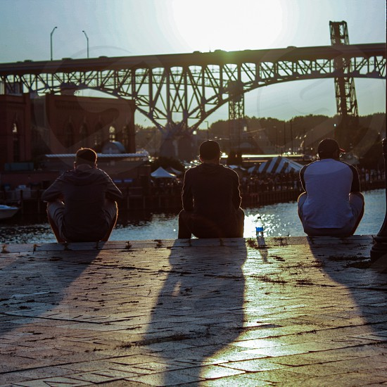 friends Cleveland flats good times quiet times rivers bridges riverwalk photo