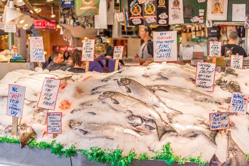 Fish counter Pike Place Market Seattle WA. photo
