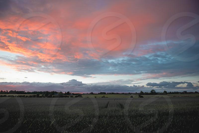 Beautiful sunset and sky on the horizon photo