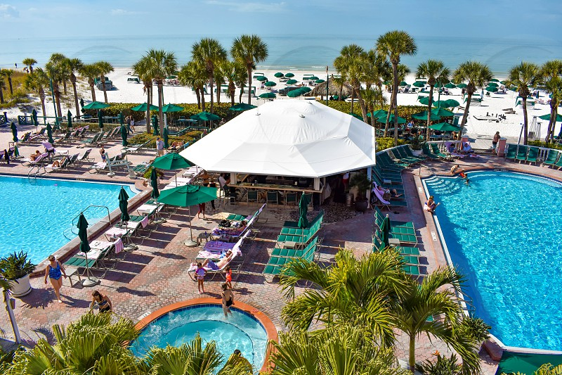 St. Pete Beach Florida. January 25 2019. Pool area view of The Don Cesar Hotel and St. Pete Beach .The Legendary Pink Palace of St. Pete Beach (2) photo