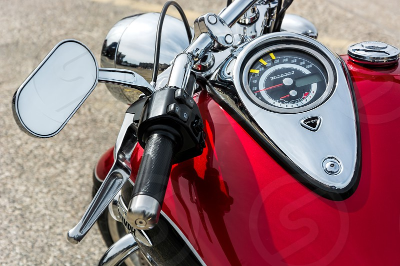 Close-up of a Motorcycle Parked in Whitstable photo