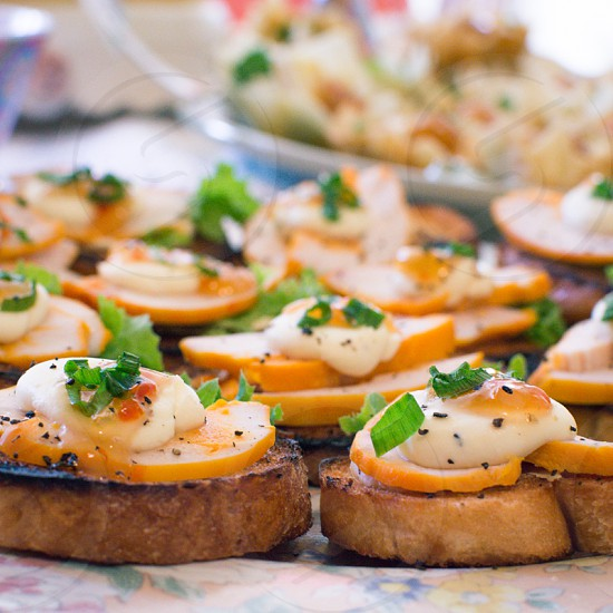 Savory party snacks. crostini hors d'oeuvres food  photo