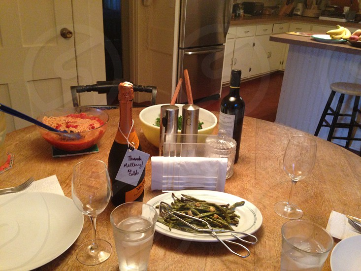 Homecooked Dinner. Green Beans. Salad. Pasta. Wine. photo