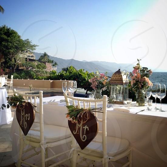 wedding reception near a beach  photo