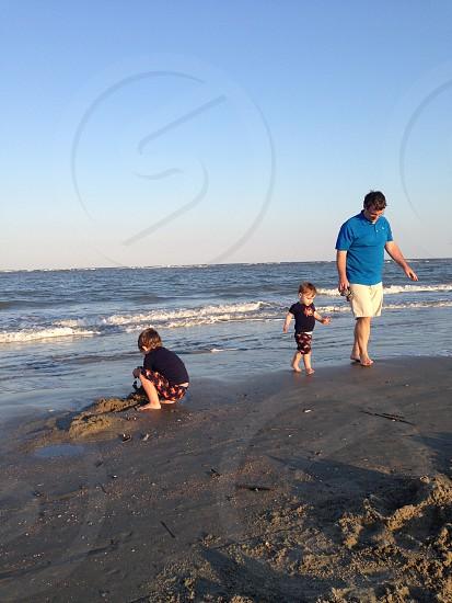 Beach family play sunset sand photo