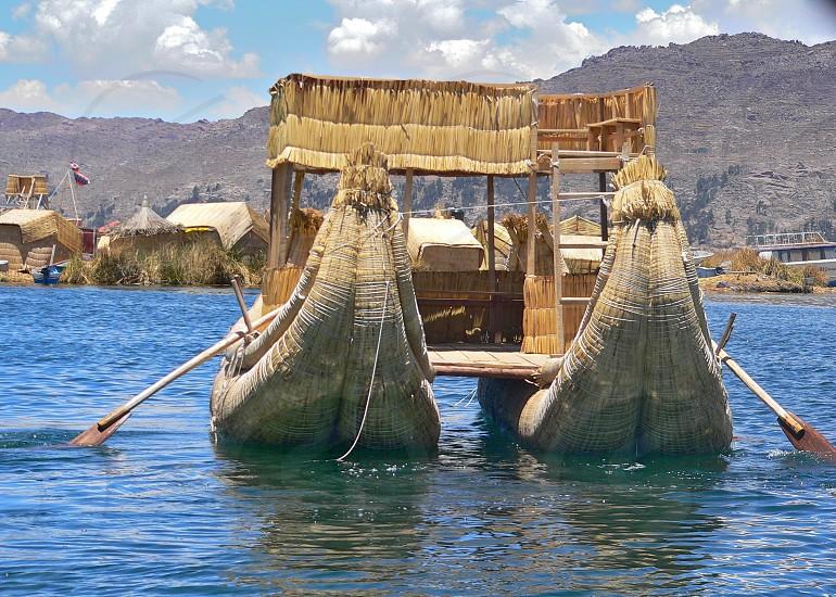 Reed boat  Titicaca lake Peru photo