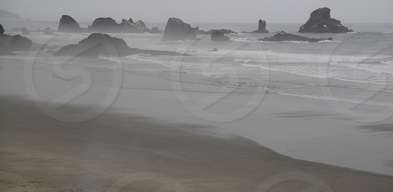 Beach. West coast. Washington. Sea stacks. Pacific northwest. photo