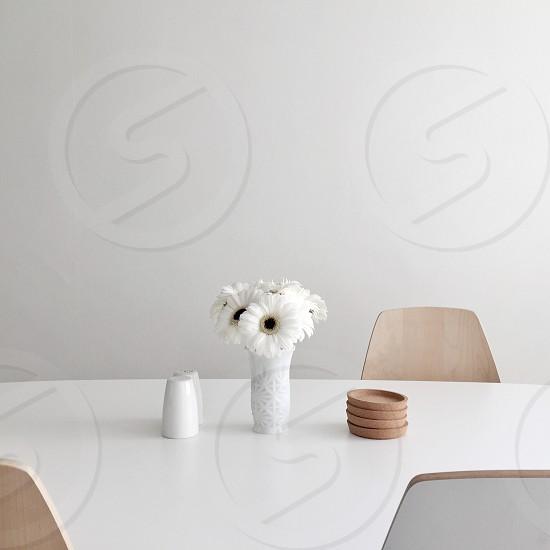 Minimal table flowers clean design white modern interior dining light kitchen Scandinavian  photo