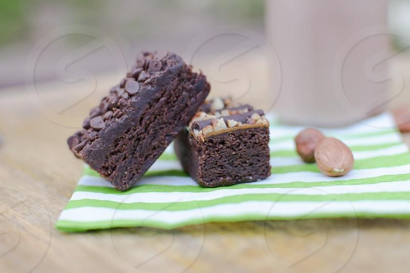 Chocolate bars milk nuts napkin photo