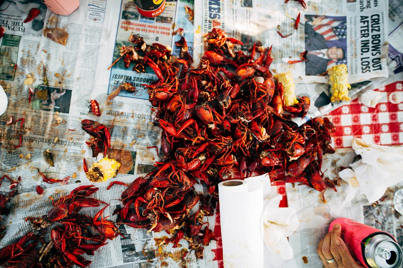 photo of crawfish boil outdoor party with family and friends photo