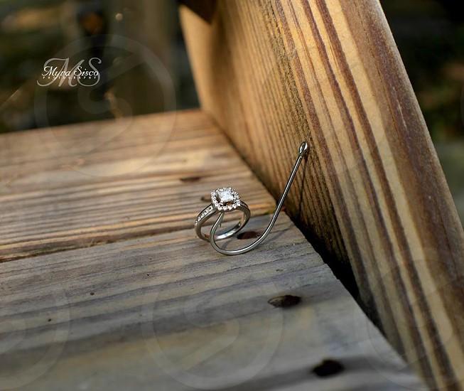 Fishing hook; engagement; ring; marriage; bride; I do photo