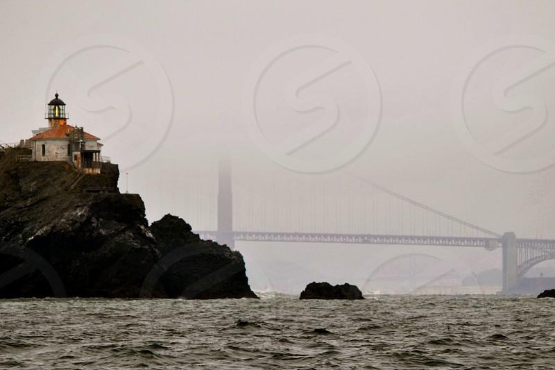 Golden Gate Bridge San Francisco Foggy Light House photo