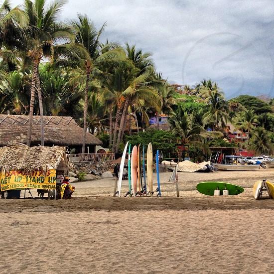 Surf shop on beach in Sayulita Mexico  photo
