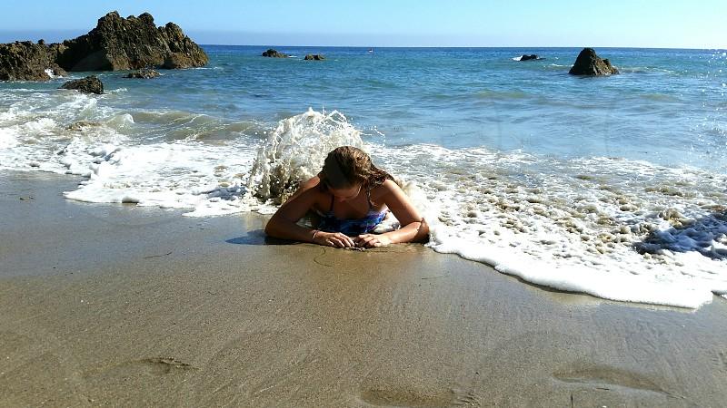 beach ocean sand vacation mermaid water swimming photo