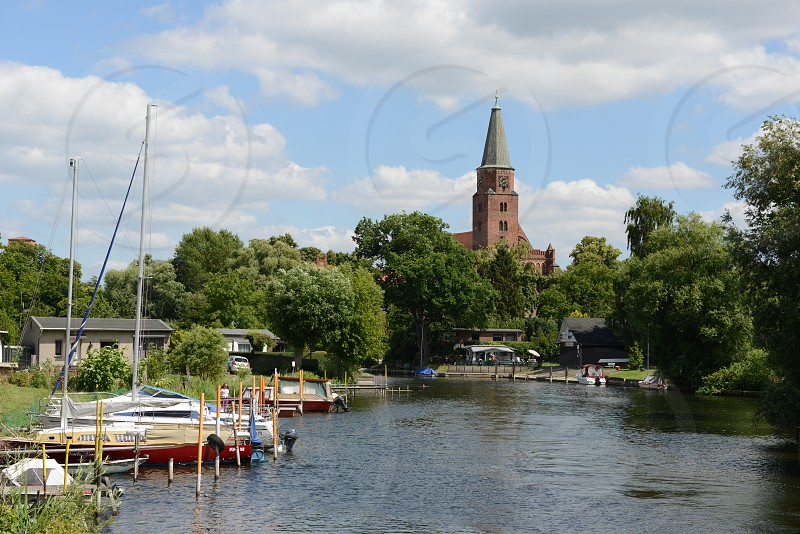 Cityscape of Brandenburg an der Havel with its Havel river harbor and in background Cathedral. photo
