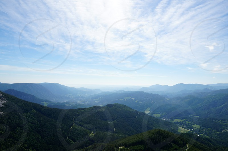 mountain hiking high clouds view scenery photo