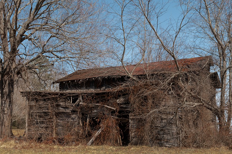 old barn ruins winter blue sky dilapidated photo