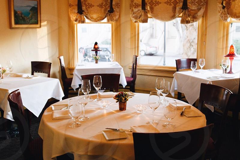 formal diner settings in restaurant photo