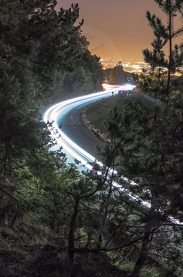 light trailsnightroadspeedcurvesmountain roadbrasovdrivingxenon photo