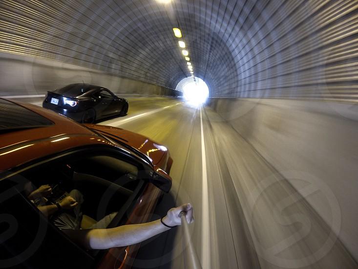 Tunnel light car motion blurwide angle photo