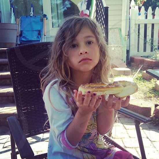 Girl pout pretzel summer food photo