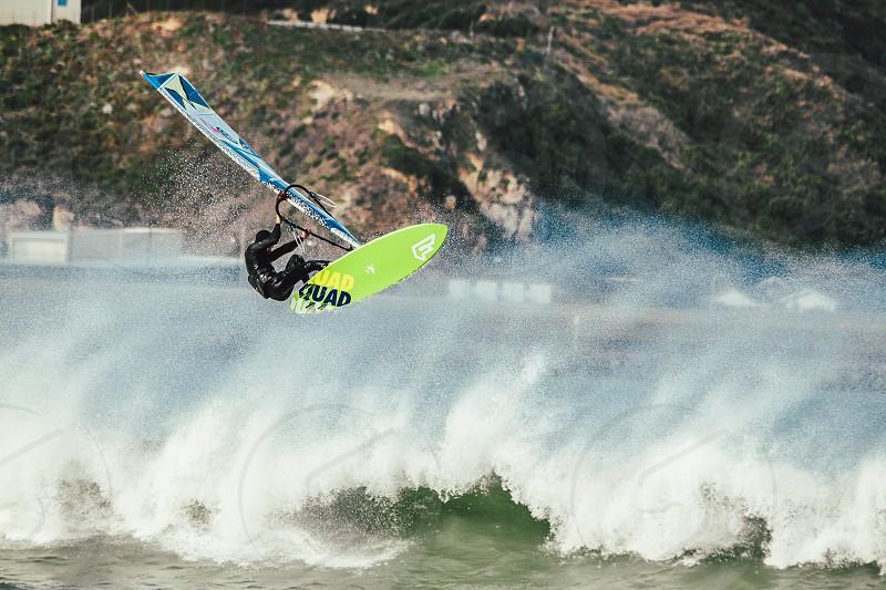 windsurfing surfing ocean beach wind waves water photo