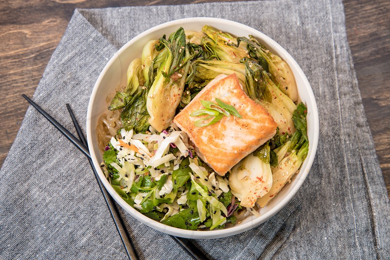 cantonese salmon bowl photo
