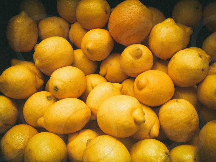 bunch of yellow lemon fruit photo