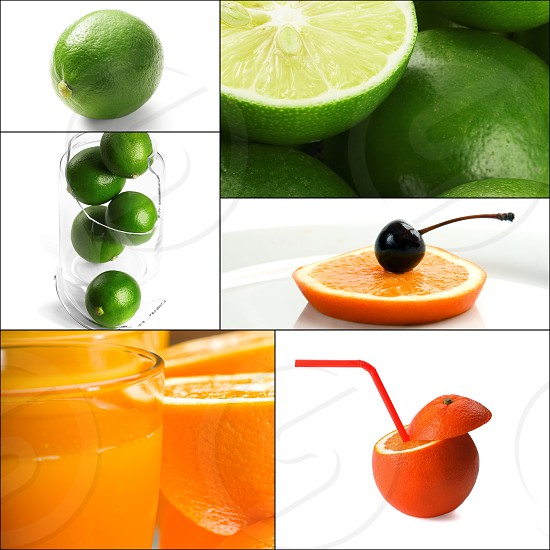 fresh citrus fruits collage composition nested on a square frame photo