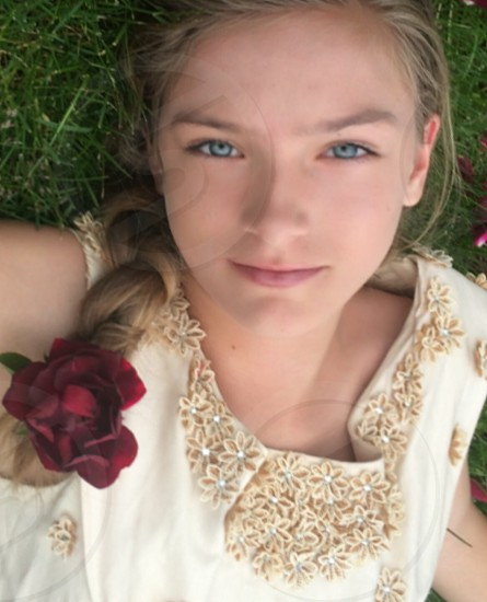 Vintage dress. Young girl. Model. Blue eyes photo