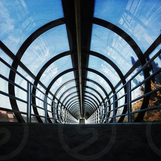 black framed glass tunnel photo