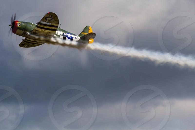P47 Thunderbolt American ww2 fighter warplane old photo