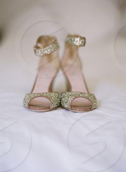 Wedding brides shoes style stylish bride malibu california sparkle gold  photo