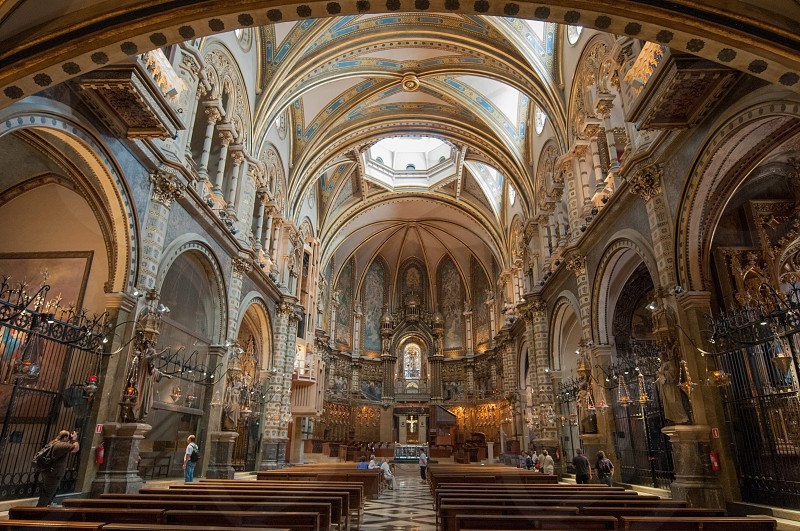 Santa Maria de Montserrat Abbey in Barcelona. Interior view photo