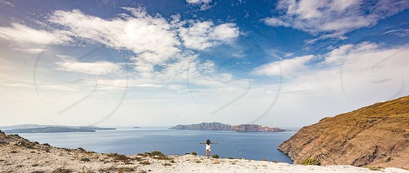 Hike from Fira to Oia in Santorini Greece. photo
