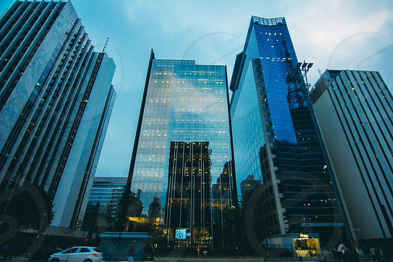 Urban Scape Street View With Tall Buildings Cosmopolitan City  photo