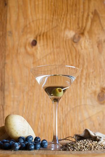 vodka drink martini food industrial wood background photo