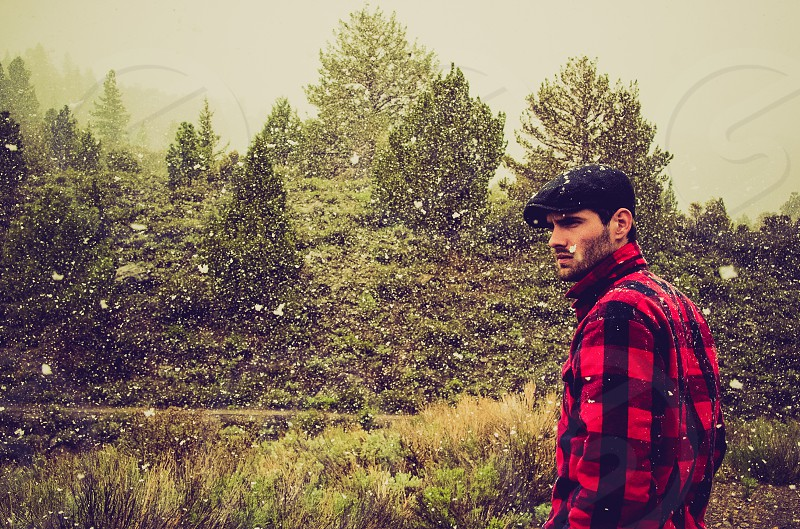 red flannel long sleeve shirt photo