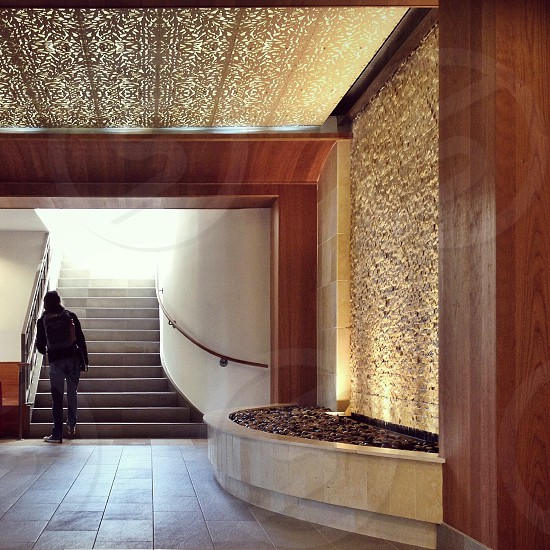 Light steps stairs gold unknown future architecture interior  photo