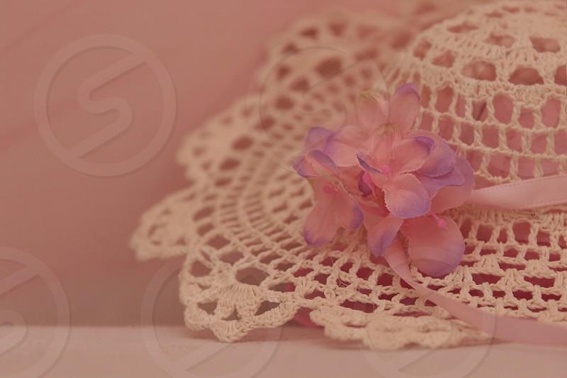 Flower on hat photo