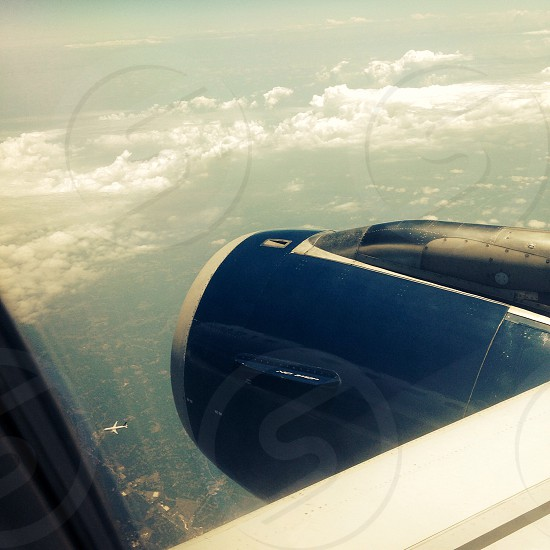 Airplane details wings beautiful view blue sunny sky's travel  photo