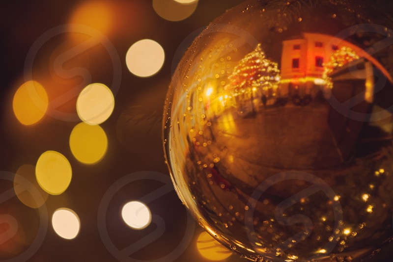 Reflection of the Street in Christmas Decoration Orb photo