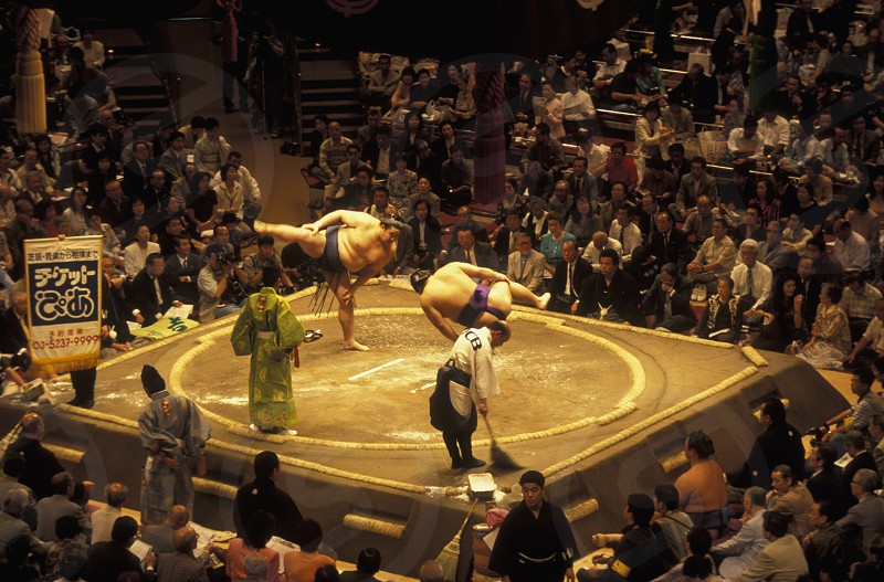 a Sumo fight in the Sumo Arena in the City centre of Tokyo in Japan in Asia photo