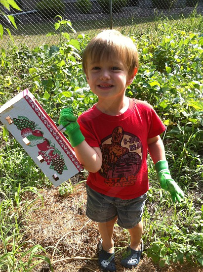 boy holding a white box beside green outdoor plants photo